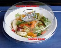 China Salad Bowl with Easy-Grip Clear Dome